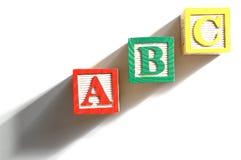 Alfabetet blockerar spelling av ordabcen Royaltyfri Foto