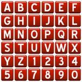 alfabetet buttons den röda fyrkanten Royaltyfri Fotografi