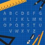 Alfabetet klottrar bokstäver och teckningshjälpmedel över rastret - vektorbegrepp på blå bakgrund royaltyfri illustrationer
