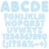 Alfabetet märker, nummer och tecken från droppar av vatten färger kunde den olika vektorn för bruk för objekt för emblemsdatalist Arkivbild