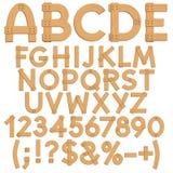 Alfabetet märker, nummer och tecken från träbräden stock illustrationer