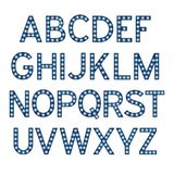 Alfabetet med blåa ljusa kulor, bokstäver med lampor, lampstilsorten som glöder märker efterföljd, vektor royaltyfri illustrationer