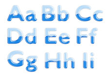 alfabetexponeringsglasvatten royaltyfria bilder