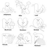 alfabetfärgläggningsida vektor illustrationer