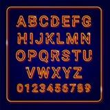 Alfabetguld med effekt för neonlampa royaltyfri illustrationer