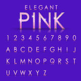 Alfabeti e raccolta rosa eleganti di numeri Fotografia Stock Libera da Diritti