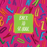 Alfabetillustration tillbaka till skolan Arkivfoto