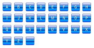 Alfabetische blauwe karakters stock illustratie