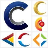 Alfabetisk logomall för bokstav C stock illustrationer