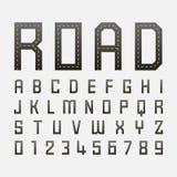 Alfabetiska stilsorter och nummer med vägstil Royaltyfri Bild