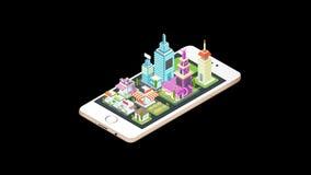 Alfabetiskbakgrundsanimering av fastighethuset och reklamfilmbyggnad och cityscapearkitektur som poppar på en smart telefonmobil stock illustrationer