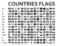 Alfabetiskt sorterade monokromma eller svarta flaggor av världen med representanten och specificerade emblem Arkivfoto