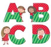 Alfabetjonge geitjes ABCD vector illustratie