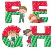 Alfabetjonge geitjes EFGH royalty-vrije illustratie