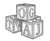 Alfabetkvarterillustration, teckning, gravyr, färgpulver, linje konst, vektor vektor illustrationer