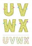 Alfabetlabyrint spelar U, V, W, X Arkivbilder