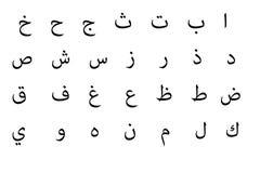 Alfabeto árabe Foto de archivo libre de regalías