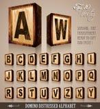 Alfabeto 3D di stile di domino dell'annata illustrazione di stock