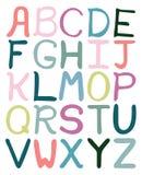 Alfabeto abstracto dibujado mano colorida ilustración del vector