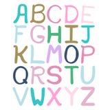 Alfabeto abstracto dibujado mano colorida El alfabeto, ABC, mano dibujada embroma el estilo, fuente aislada, tipo Fotografía de archivo