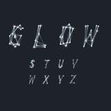 Alfabeto abstracto hecho de líneas blancas transparentes con e que brilla intensamente Fotos de archivo