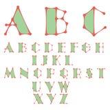 Alfabeto abstracto hecho de líneas conectadas puntos ilustración del vector