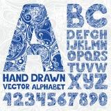 Alfabeto adornado decorativo Número del vector del dibujo de la mano Imagen de archivo