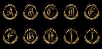 Alfabeto adornado A-J Fotografía de archivo