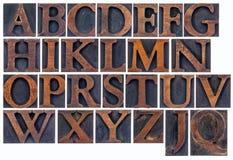 Alfabeto aislado en el tipo de madera Fotografía de archivo libre de regalías