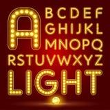 Alfabeto ajustado com lâmpada realística Fotografia de Stock Royalty Free
