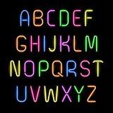Alfabeto al neon Fotografie Stock Libere da Diritti