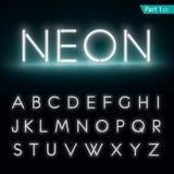Alfabeto al neon Fonte d'ardore, parte 1 Fotografia Stock Libera da Diritti