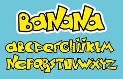 Alfabeto amarillo de la fuente de la pintada Diseño de letras del vector Imágenes de archivo libres de regalías