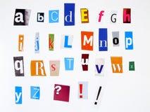 Alfabeto anónimo Fotografía de archivo