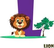 Alfabeto animal lindo del parque zoológico Letra L para el león imagen de archivo