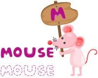 Alfabeto animal m con el ratón Imágenes de archivo libres de regalías