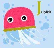 Alfabeto animal para los niños: J para las medusas Foto de archivo libre de regalías