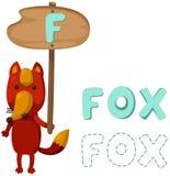 Alfabeto animale f con la volpe Immagini Stock Libere da Diritti