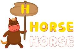 Alfabeto animale h con il cavallo Fotografie Stock Libere da Diritti