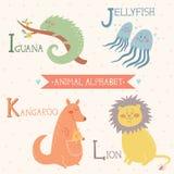Alfabeto animale Iguana, medusa, canguro, leone Parte 3 Immagine Stock
