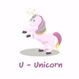 Alfabeto animale isolato per i bambini, U per l'unicorno Immagine Stock