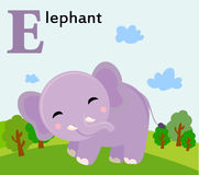 Alfabeto animale per i bambini: E per l'elefante Immagini Stock
