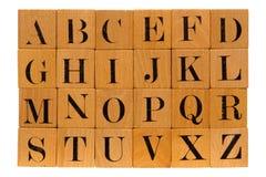 Alfabeto antiguo del bloque de madera Foto de archivo