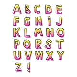 Alfabeto astratto disegnato a mano, con lineare Fotografia Stock Libera da Diritti