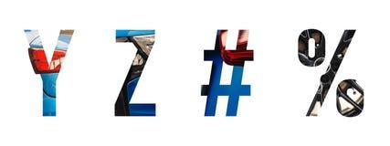 Alfabeto automobilistico y, z della fonte, #, % illustrazione di stock