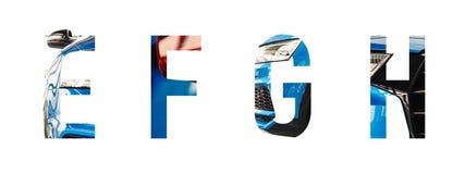 Alfabeto automotriz e, f, g, h de la fuente imagen de archivo libre de regalías