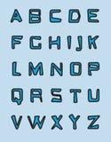 Alfabeto azul Foto de archivo libre de regalías