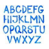 Alfabeto azul de la acuarela Vector Foto de archivo