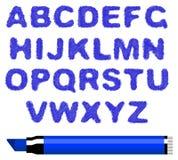 Alfabeto azul de la etiqueta de plástico Fotografía de archivo libre de regalías