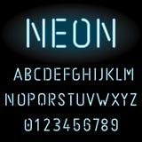 Alfabeto azul de la luz de neón Imágenes de archivo libres de regalías